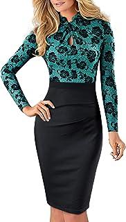 HOMEYEE Donna Vintage Colletto Stand Manica Corta Bodycon Business Vestiti a Matita B430