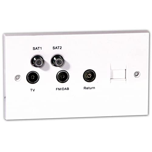 29 Chrome Twin TV ou FM SLIMLINE Antenne Co-axial Double Outlet Socket