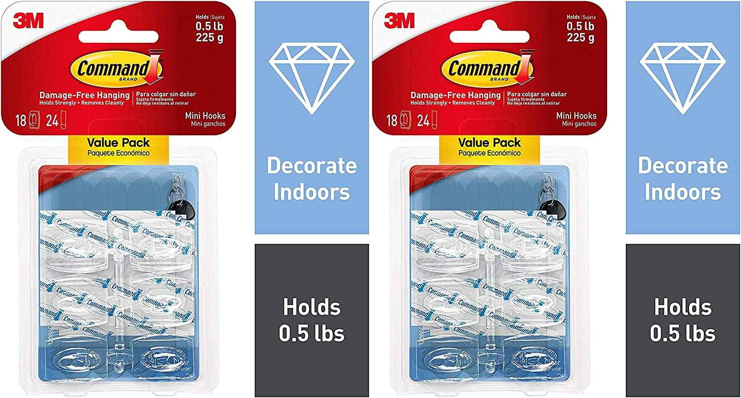 Command Mini Hooks 17006CLR-18ES Branded goods 24 Decorate outlet Strips 18