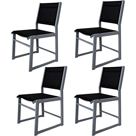 Chicreat 80502 Garden Armchairs Kitchen Dining Chairs, Set of 4, Silver/Black Aluminium/Textile Cover, 59 x 46 x 86 cm