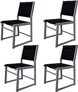 Chicreat - Juego de 4 sillones de aluminio tapizados para