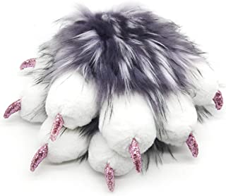 Fursuit Paws Furry Partial Cosplay Fluffy Claw Gloves Costume Lion Bear Props for Kids Adults (Purple White)
