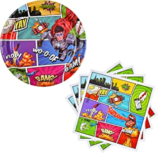 Gatherfun Superhero Party Supplies Paper Dinner Plates and Paper Napkins for Birthday Decorations for Kids and Adults 50 Pack