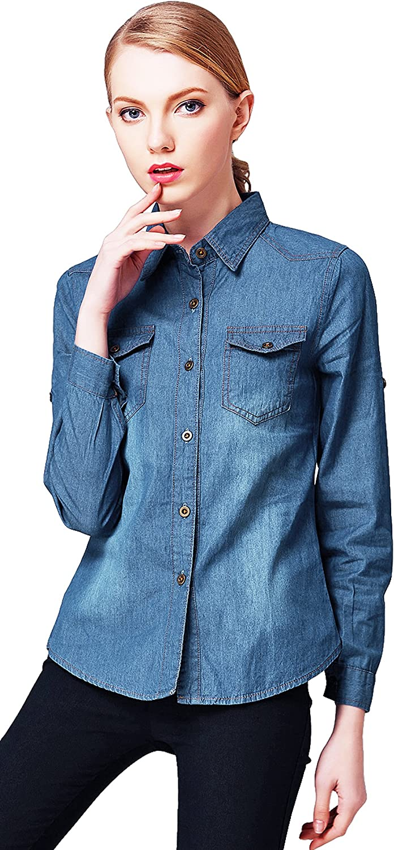 V-SOL Camisa Vaquero Blusa Clásico para Mujer Otoño