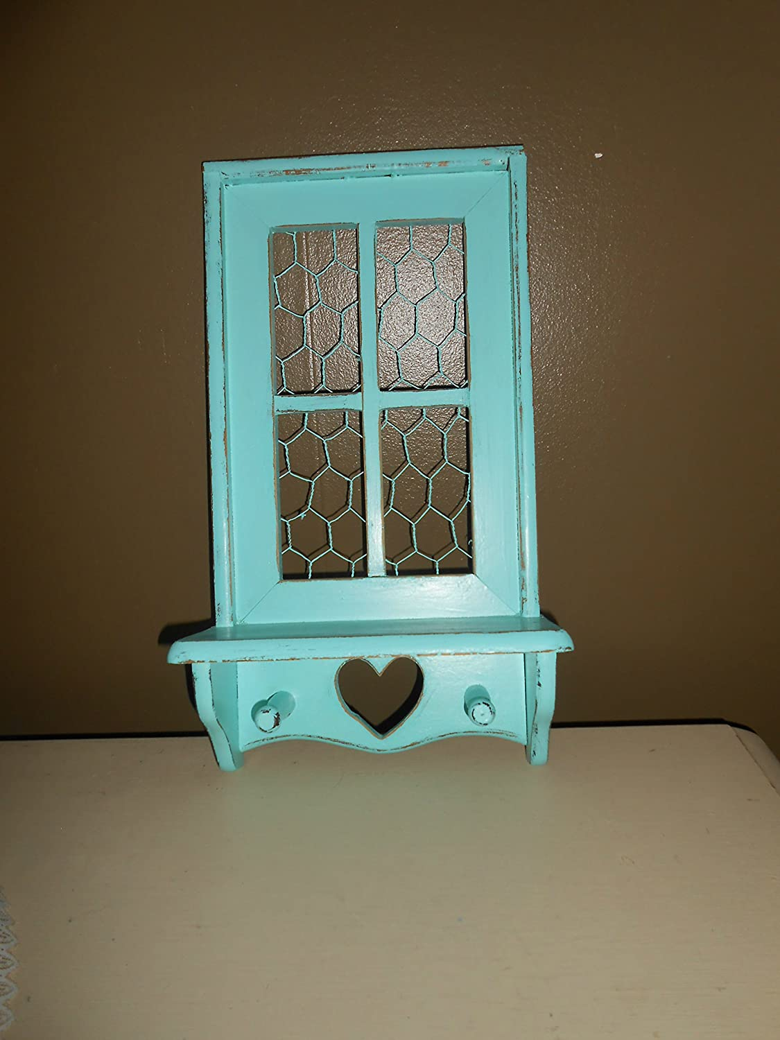 Wall Shelf Upcycled Vintage At the price of surprise Jewelr Translated Hooks Peg Distressed