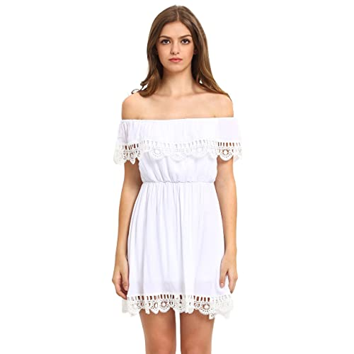 393a44604c SheIn Women's Off Shoulder Crochet Lace Patchwork Casual Dress Small White