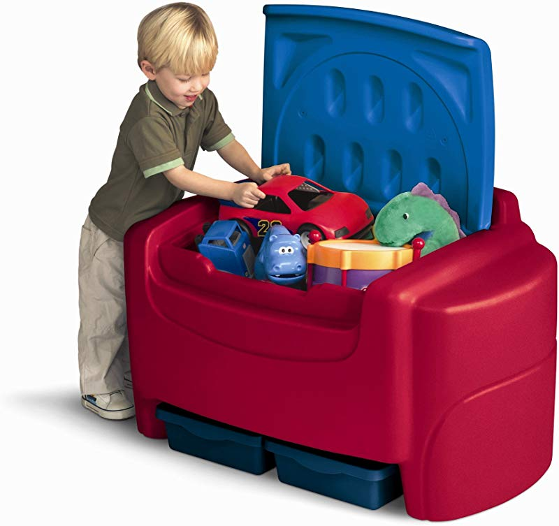 Red Sort N Store Toy Storage Box With Lid Containers And Chest Organizer Bins For Kids Pet Toys Books Cars And Accessories