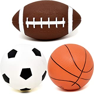 Number 1 in Gadgets Set of 3 Sports Balls for Kids, Mini Sport Pack Includes Football, Soccer & Basketball for Soft Indoor...