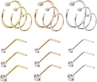 Jstyle 18Pcs Nose Rings Hoop Stainless Steel 20G Screw CZ Nose Studs Piercing Ri