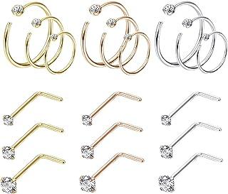 Jstyle 18Pcs حلقه بینی کراوات فولاد ضد زنگ 20G پیچ CZ بینی Studs پر سر و صدا حلقه حلقه مجموعه جواهر بدن