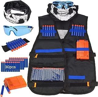 Kids Tactical Vest Kit,Shinemore Tactical Vest Jacket Kit for Nerf Gun N-Strike Elite Series,with 30Pcs Darts Bullets,1Pcs 7-Dart Quick Reload Clips,1Pc 8-Dart Wrist Band, Seamless Face Mark & Goggle