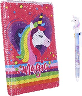 Kids Unicorn Notebook,Sequin Reversible Notebook Flip Journal Notebook with Unicorn Pattern and Unicorn Pen for Kids (3)