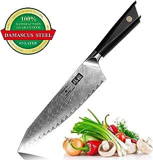 SHAN ZU Cuchillo de Cocina de Damasco de 20cm AUS10 Cuchillo de Cocina de 67 Capas de Acero de Damasco Profesional Cuchillos Afilados de Alto Carbono Profesionales con manija G10 - GYO Series