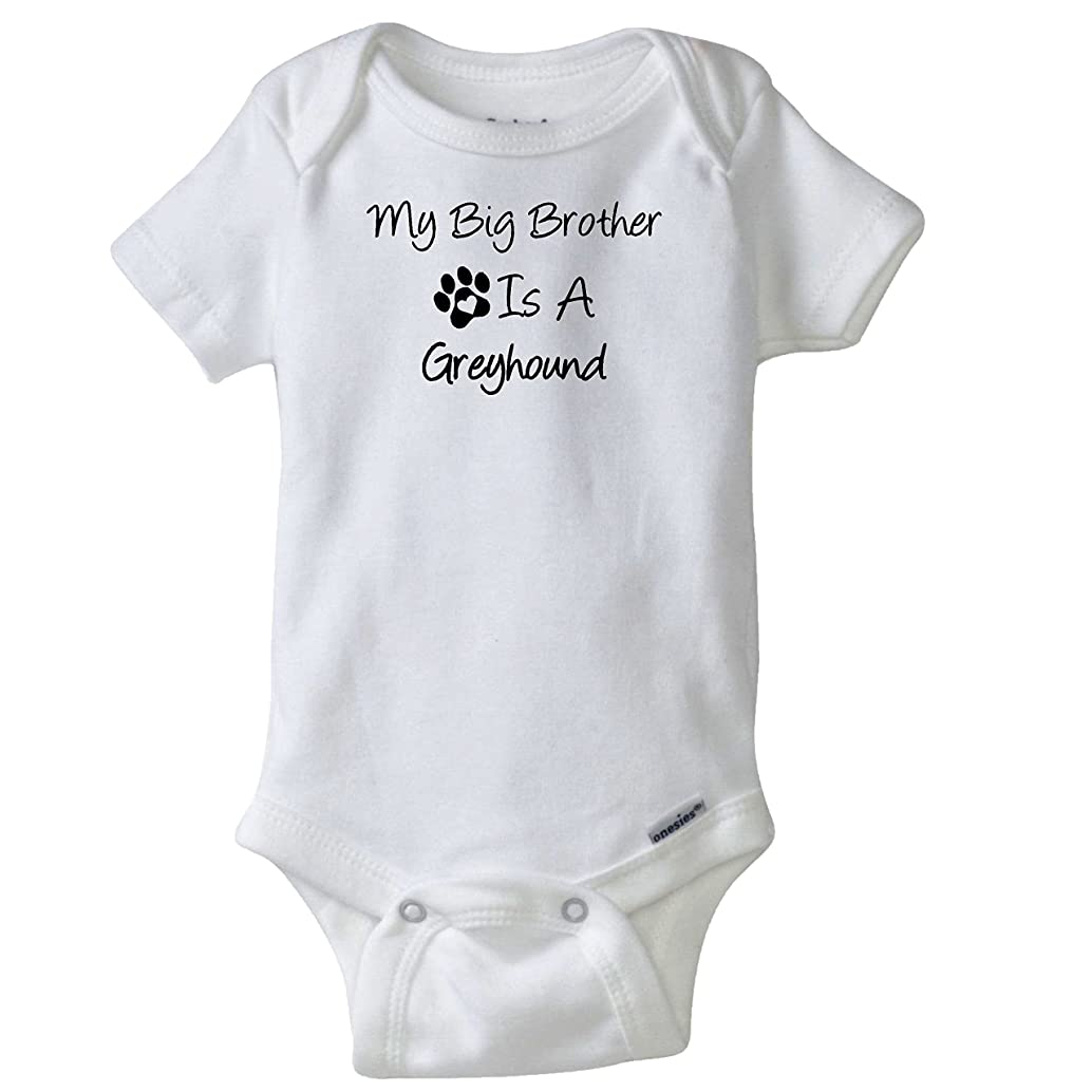 My Big Brother is A Greyhound Infant Bodysuit Pet Dog Lover Baby Romper Creeper