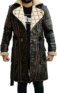 Abbraci Men's Brown Distressed Shearling Genuine Leather Trench Coat