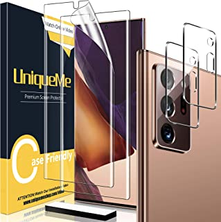 [2+2 Pack] UniqueMe 2 pack Soft TPU Screen Protector and 2 pack Tempered Glass Camera Lens Protector for Samsung Galaxy No...
