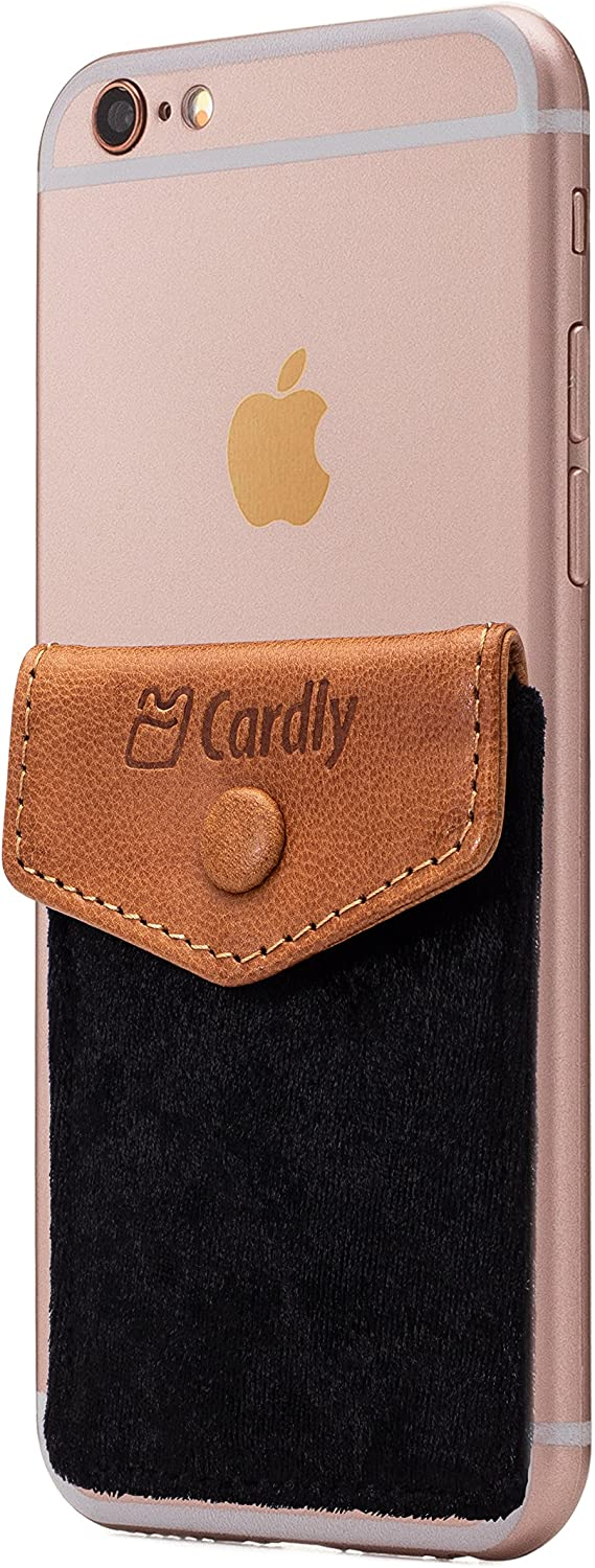 Button Secure Cell Phone Stick On Wallet Card Holder Phone Pocket for iPhone, Android and All Smartphones. (Black Felt)