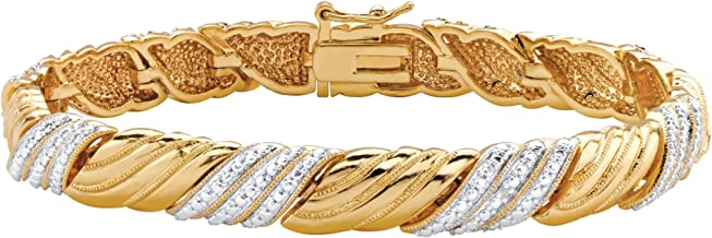 Palm Beach Jewelry White Diamond Accent Pave-Style 18k Gold-Plated Textured Two-Tone Bracelet 7.5