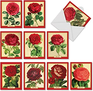 10 'Retro Roses' Thank You Cards with Envelopes 4 x 5.12 inch, All Occasion Greeting Cards for Weddings, Valentine's Day, Birthdays, and More, Assorted Stationery Set Featuring Red Roses M1739TY