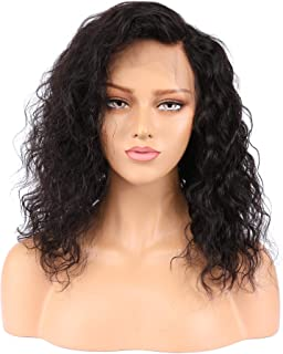 Human Hair Lace Front Wigs, Brazilian Virgin Hair for Black Women, Curly Wave, Natural Black Color, 130% Density, 12 inch