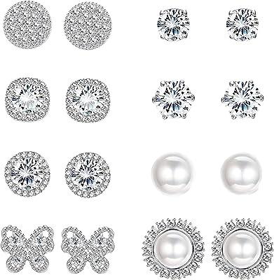 Milacolato 8 paia di Orecchini per Donna CZ Zirconia Halo Studs Perla Simulata zirconi Orecchini Piercing Orecchio Set di Gioielli