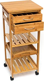 Lipper International 8915 Bamboo Wood Space-Saving Serving Cart with Removable Tray, 15.5
