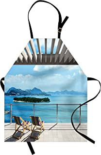 Lunarable Beach Theme Apron, Modern Tile Roof Top House with Garden and Ocean View Image, Unisex Kitchen Bib Apron with Adjustable Neck for Cooking Baking Gardening, Brown White Green and Blue