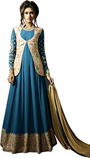 Women's Green Georgette Semi Stitched Suit Mirchi Fashion Salwar Kameez