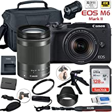 Canon EOS M6 Mark II Mirrorless Digital Camera (Black) with 18-150mm Lens and EVF-DC2 Viewfinder + Canon Shoulder Bag + 12...