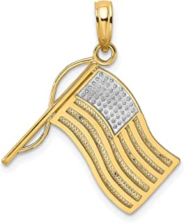 14k Two-Tone Yellow Gold Waving United States Flag Pendant 17x18mm