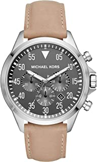 Michael Kors Men's Gage Stainless Steel Quartz Leather Strap, Brown, 21 Casual Watch (Model: MK8616)