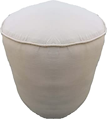 "100% Cotton Plain Piping Round Ottoman Throw Pouf Cover (20""Wx16""H, Ivory) COVER ONLY, Not Stuffed , Insert not Included"