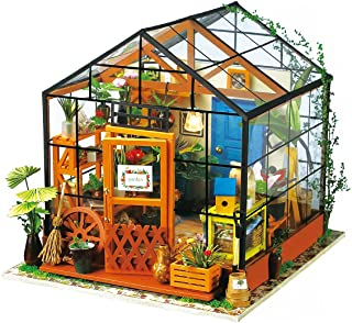 (Cathy's Flower House) - ROBOTIME DIY Dollhouse Wooden Miniature Furniture Kit Mini Green House with LED Best Christmas Gift