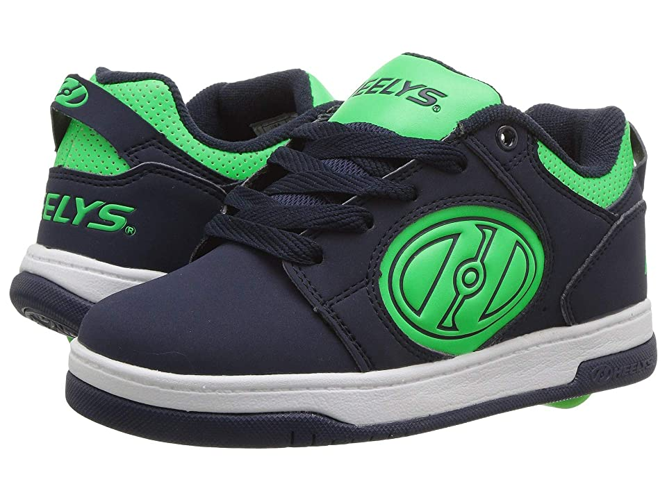 Heelys Voyager (Little Kid/Big Kid/Adult) (Navy/Neon Green G.I.D) Boys Shoes