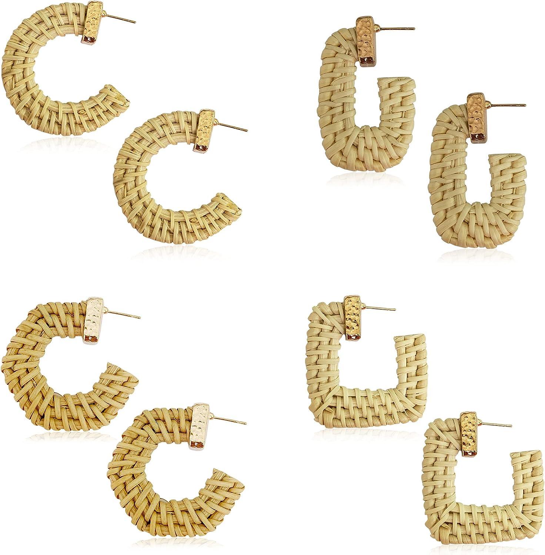 4 Pairs Handmade Lightweight Woven Rattan Knit Bamboo Geometric Earrings Straw Wicker Braid Hoop Earrings Bohemian Boho Ear Statement Jewelry