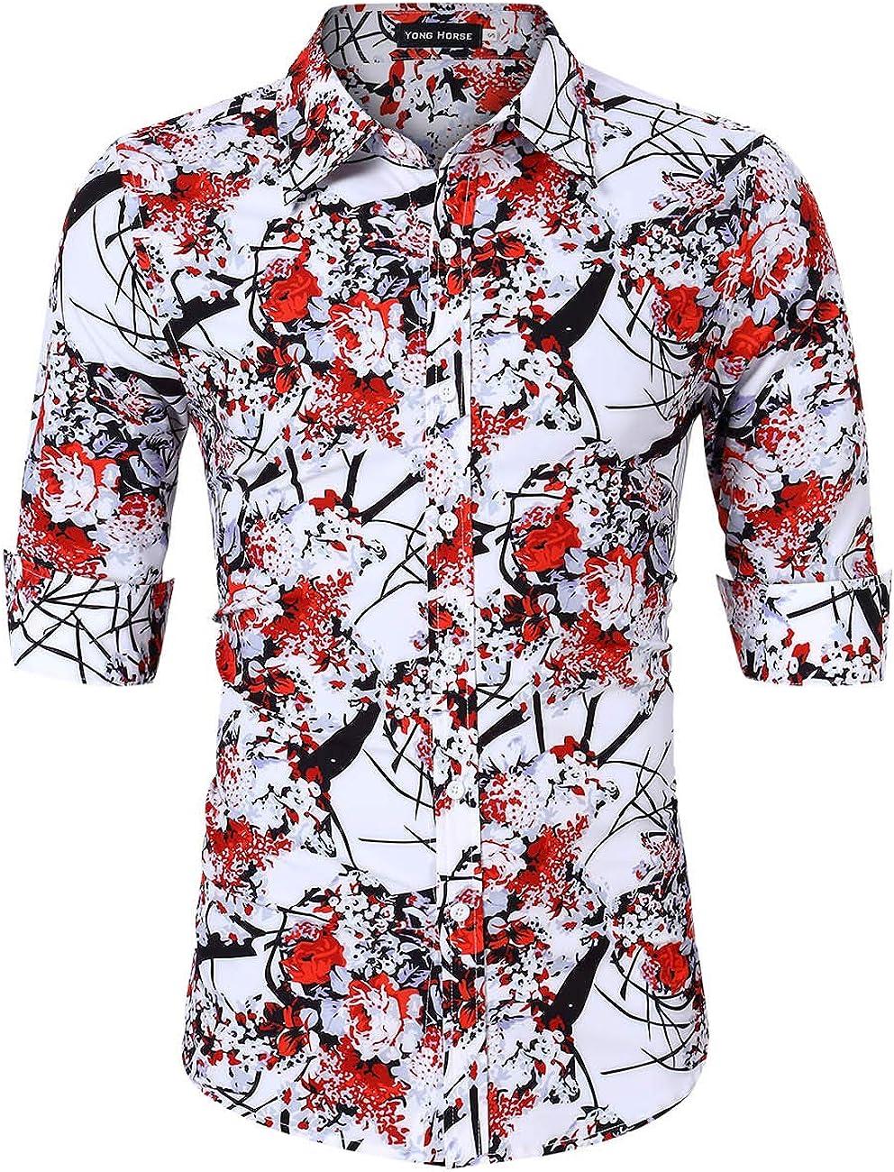 Yong Horse Men's Floral Printed Beach Hawaiian Casual Button-Down Dress Shirts