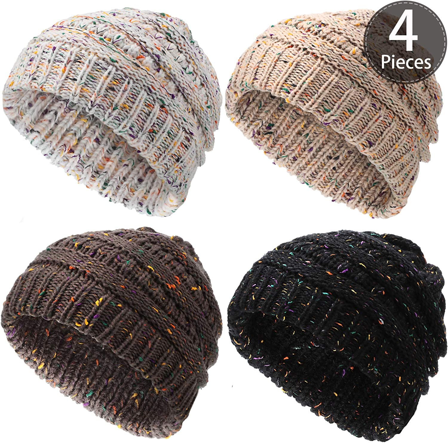 SATINIOR 4 Pieces Confetti Knit Beanie Hat, Soft Warm Winter Cable Knit Beanie Skully Stretch Thick Chunky Cap Slouchy Hat for Women Men