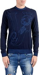 Men's Blue Designed Crewneck Sweater Size US M IT 50