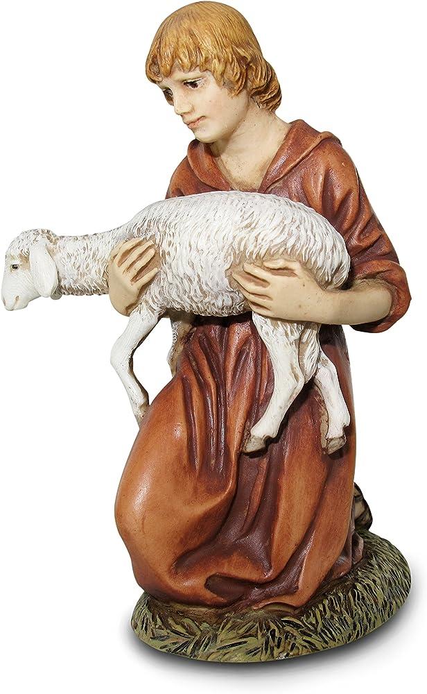 Ferrari & arrighetti statua presepe  linea martino landi,pastore con agnello 120 cm