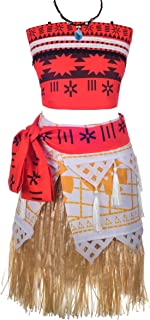 Lito Angels Girls Adventure Moana Costumes Outfit Dress Skirt Set Halloween Dress Up with Necklace