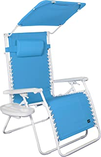Bliss Hammocks GXW-459LBr Zero Gravity Chair with Canopy and Side Tray, Light Blue