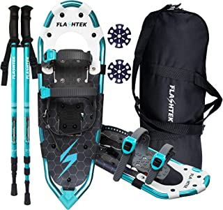 FLASHTEK 25/30 Inches Snowshoes for Men and Women Lightweight Snowshoes with Poles for Hiking Heel Lift Riser for Mountaineering + Free Carrying Bag