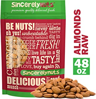 Sincerely Nuts – Natural Whole Raw Almonds Unsalted No Shell | 3 Lb. Bag | Low Calorie, Low Sodium, Kosher, Vegan, Gluten Free | Gourmet Kosher Snack Food | Source of Fiber, Protein, Nutrients