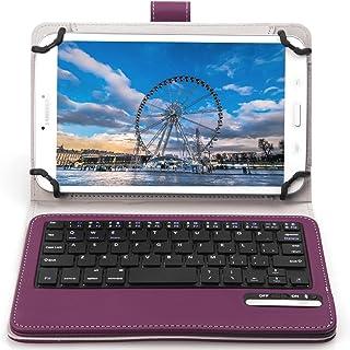 ASUS ZenPad 7.0 Z370KL ケース,【IVSO】オリジナル ASUS ZenPad 7.0 Z370KL/Z370C/Z370CG (2015 Version) /旭エレクトロニクス AEC SG080i SG080iSL SG080iBK /Huawei Mediapad M2 7.0/ Huawei Mediapad T2 7.0 pro / Dragon Touch Y88X/Y88X Plus / Y88 / Q88/Dragon Touch S8/Huawei Mediapad M2 8.0/ Qua tab px/ ASUS ZenPad 8 2016/ ASUS Zenpad Z8キーボード ((7-8インチのタブレットも適用) 開閉で自動的 PUレザーケース マグネット着脱可能 一体型 ワイヤレスキーボード(パープル)
