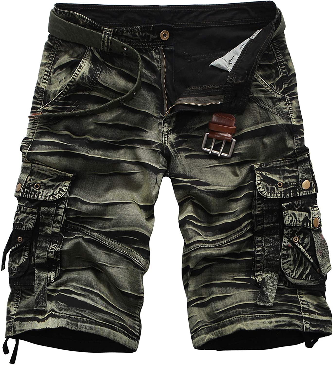LZJDS Men's Shorts Camo Multi-Pocket Relaxed Fit Casual Shorts Outdoor Camouflage Cargo Shorts,001,36