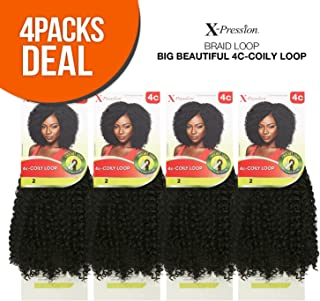 Outre Synthetic Hair Crochet Braids X-Pression Braid 4C-Coily Loop (4-PACK, 4)
