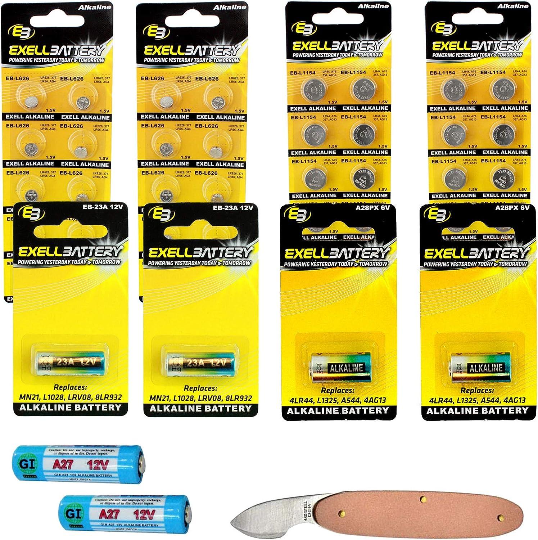 depot 47pc Essential Batteries Kit 23A Wat CR2032 half L1154 A28PX CR2025
