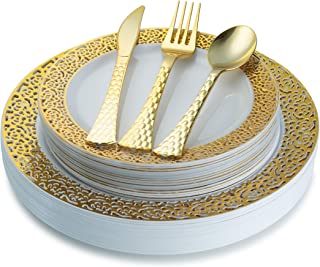 White and Gold Plastic Plates and Silverware Set (100-Piece) Elegant, Disposable Dinnerware | 20 Dinner and 20 Dessert Plates, 20 Forks, 20 Knives, 20 Spoons | Heavy-Duty Place Settings - Posh Setting