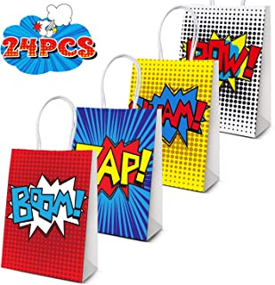 JOYET Superhero Party Supplies Favors, Superhero Party Bags For Superhero Theme Birthday Party Decorations Set of 24 (4 Colors)