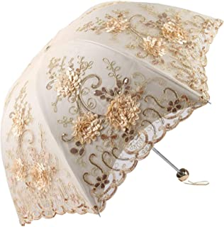 Lace Parasol Umbrella Sun Parasol UV Protection Princess Pretty Parasol Wedding Bridal Umbrella Decorative Parasol Embroid...